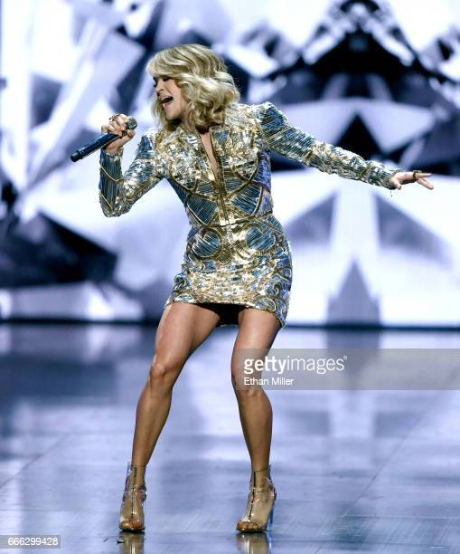 Recording artist Carrie Underwood performs during the 52nd Academy of Country Music Awards at TMobile Arena on April 2 2017 in Las Vegas Nevada