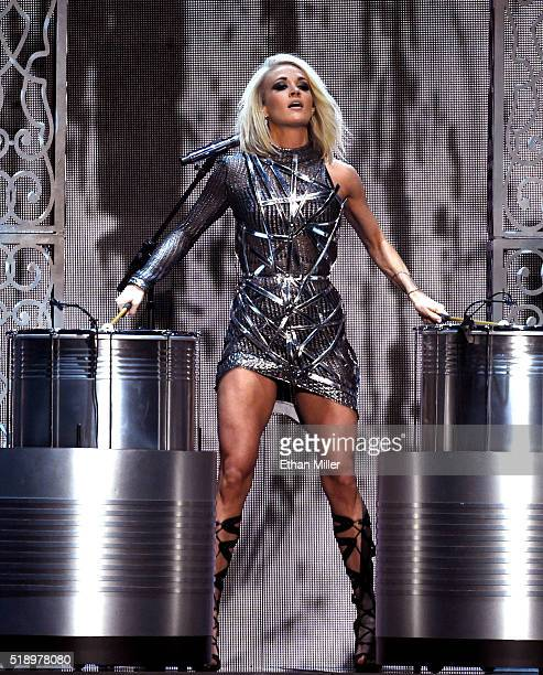 Recording artist Carrie Underwood performs onstage during the 51st Academy of Country Music Awards at MGM Grand Garden Arena on April 3 2016 in Las...