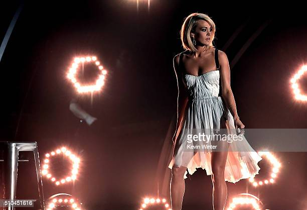 Recording artist Carrie Underwood performs onstage during The 58th GRAMMY Awards at Staples Center on February 15 2016 in Los Angeles California