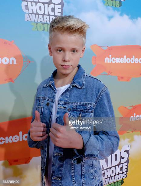 Recording artist Carson Lueders attends Nickelodeon's 2016 Kids' Choice Awards at The Forum on March 12 2016 in Inglewood California