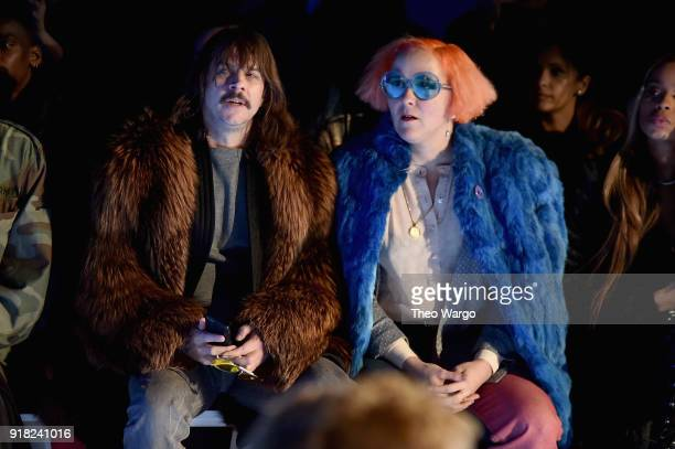 Recording artist Casey Spooner and artist K8 Hardy attend the Laquan Smith front row during New York Fashion Week The Shows at Gallery I at Spring...