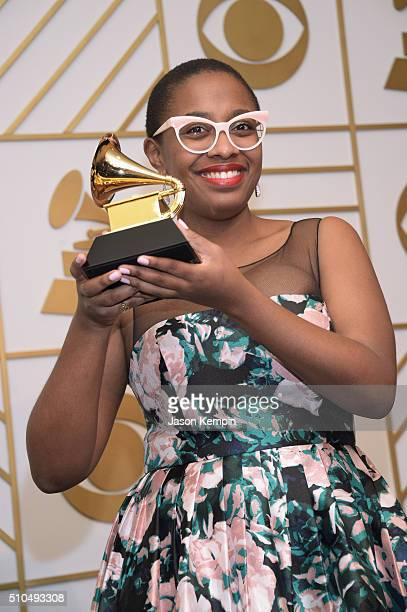 Recording artist Cecile McLorin Salvant poses in the press room during The 58th GRAMMY Awards at Staples Center on February 15 2016 in Los Angeles...