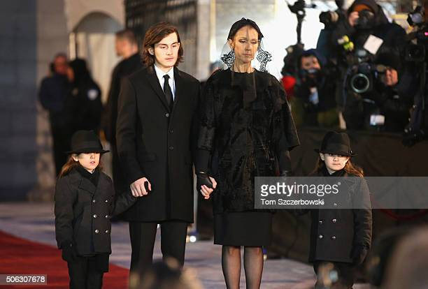 Recording artist Celine Dion and children Rene-Charles Angelil, Eddy Angelil and Nelson Angelil attend the State Funeral Service for Celine Dion's...