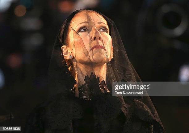 Recording artist Celine Dion attends the State Funeral Service for Celine Dion's Husband Rene Angelil at NotreDame Basilica on January 22 2016 in...