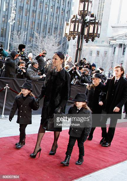 Recording artist Celine Dion children ReneCharles Angelil Eddy Angelil Nelson Angelil and Therese Dion attend the State Funeral Service for Celine...