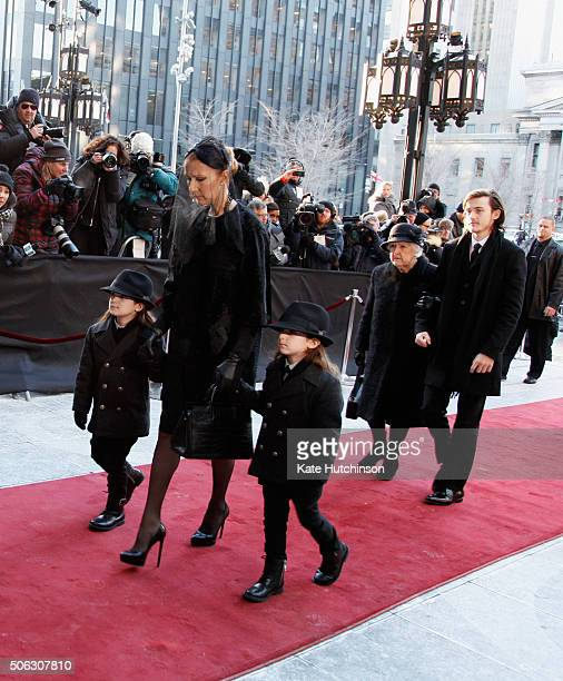 Recording artist Celine Dion, children Rene-Charles Angelil, Eddy Angelil, Nelson Angelil and Therese Dion attend the State Funeral Service for...