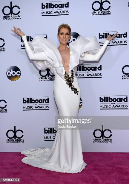 Recording artist Celine Dion poses in the press room during the 2017 Billboard Music Awards at TMobile Arena on May 21 2017 in Las Vegas Nevada