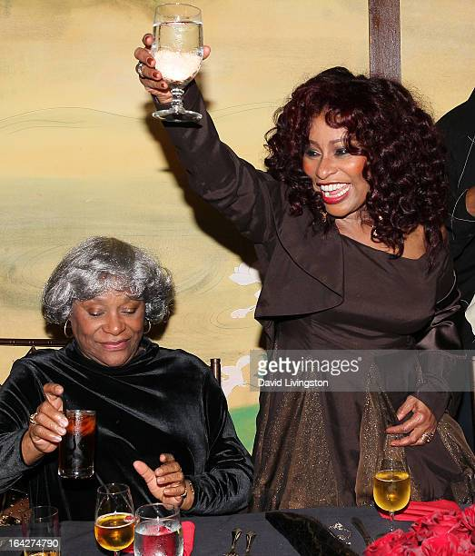 Recording artist Chaka Khan and mother Sandra Coleman attend Khan's 60th birthday party at Yamashiro Restaurant on March 21 2013 in Los Angeles...