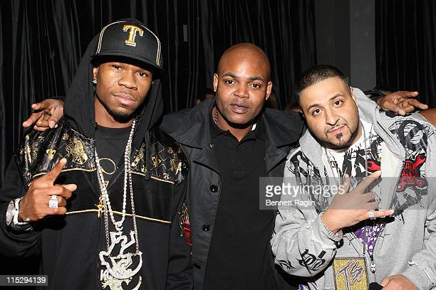 Recording artist Chamillionaire, Harve Pierre, President of Bad Boy records and recording artist DJ Khaled attend the 5WPR 5th Anniversary party at...