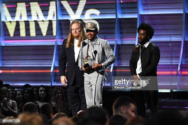 Recording artist Chance The Rapper accepts the award for Best Rap Album onstage during The 59th GRAMMY Awards at STAPLES Center on February 12 2017...