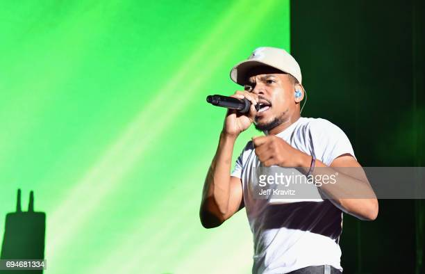 Recording artist Chance The Rapper performs onstage at What Stage during Day 3 of the 2017 Bonnaroo Arts And Music Festival on June 10 2017 in...