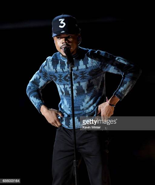 Recording artist Chance the Rapper performs onstage during The 59th GRAMMY Awards at STAPLES Center on February 12 2017 in Los Angeles California