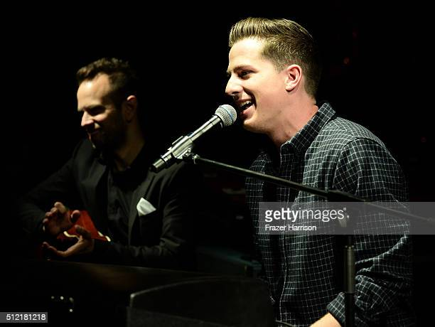 Recording artist Charlie Puth performs onstage during Global Green USA's 13th annual preOscar party at Mr C Beverly Hills on February 24 2016 in Los...