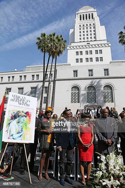 Recording artist Charlie Wilson and actors Angela Bassett and Louis Gossett Jr attend the unveiling of the Shirley Chisholm Forever Stamp at the...