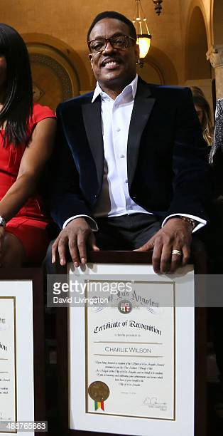 Recording artist Charlie Wilson is honored at the LA City Council's African American Heritage Month Celebration at Los Angeles City Hall on February...