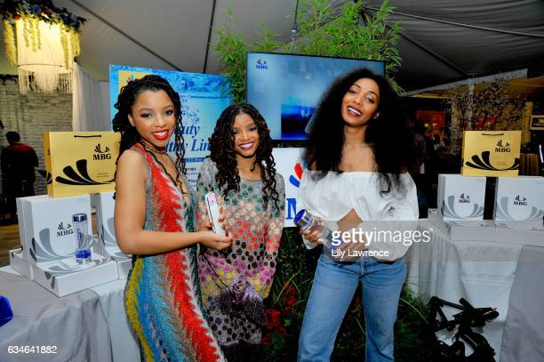 Recording artist Chloe Bailey, Halle Bailey and Diana Gordon attend GRAMMY Gift Lounge during the 59th GRAMMY Awards at STAPLES Center on February...