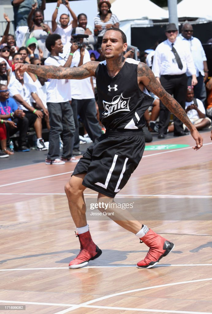 Recording Artist Chris Brown at the Sprite Court during the 2013 BET Experience at L.A. LIVE on June 29, 2013 in Los Angeles, California.