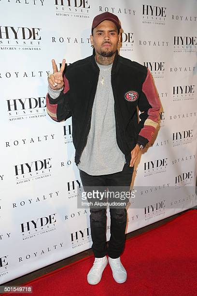 Recording artist Chris Brown attends a listening party for his latest album 'Royalty' at HYDE Sunset Kitchen Cocktails on December 15 2015 in West...