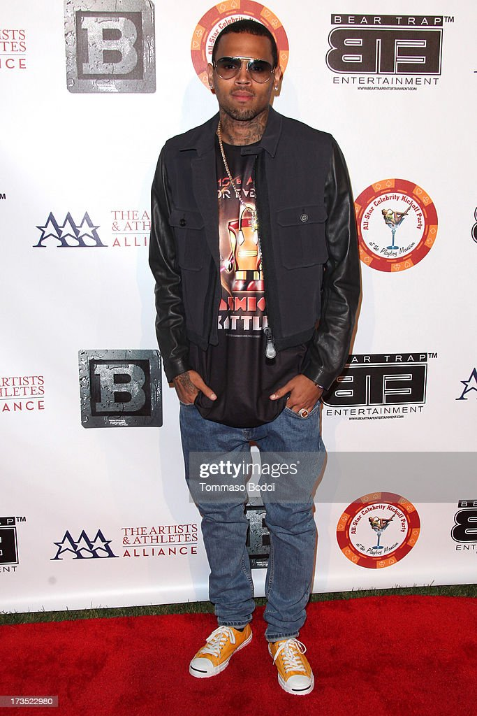 Recording Artist Chris Brown attends the 8th annual BTE All-Star Celebrity Kickoff Party held at The Playboy Mansion on July 15, 2013 in Beverly Hills, California.