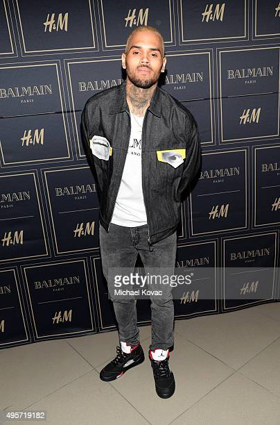 Recording artist Chris Brown attends the Balmain x HM Los Angeles VIP PreLaunch on November 4 2015 in West Hollywood California