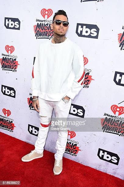 Recording artist Chris Brown attends the iHeartRadio Music Awards at The Forum on April 3 2016 in Inglewood California