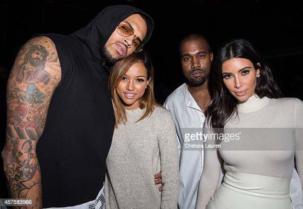Recording artist Chris Brown model Karrueche Tran Kanye West and TV personality Kim Kardashian attend Teyana Taylor's VII listening event presented...