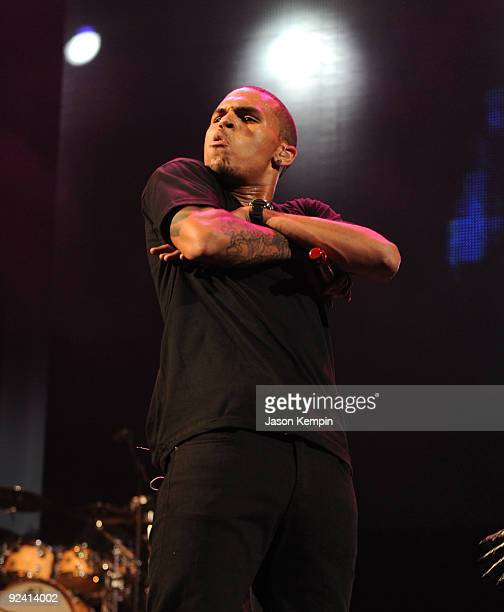 Recording artist Chris Brown performs during POWER 1051's POWERHOUSE at Izod Center on October 27 2009 in East Rutherford New Jersey