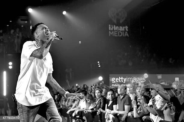 Recording artist Chris Brown performs onstage during iHeartRadio Live with special guest TI at the iHeartRadio Theater Los Angeles on June 19 2015 in...