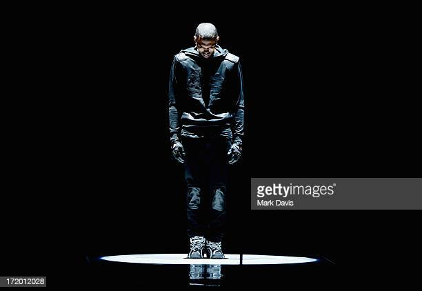 Recording artist Chris Brown performs onstage during the 2013 BET Awards at Nokia Theatre LA Live on June 30 2013 in Los Angeles California