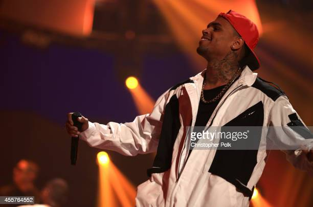 Recording artist Chris Brown performs onstage during the 2014 iHeartRadio Music Festival at the MGM Grand Garden Arena on September 19, 2014 in Las...