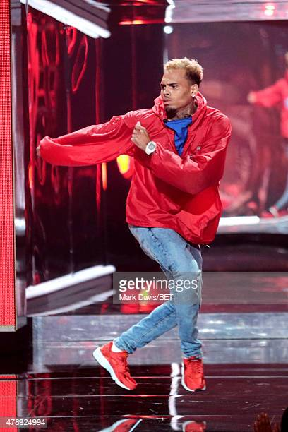 Recording artist Chris Brown performs onstage during the 2015 BET Awards at the Microsoft Theater on June 28 2015 in Los Angeles California