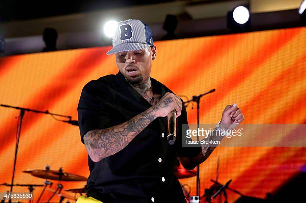 Recording artist Chris Brown performs onstage during The iHeartRadio Summer Pool Party at Caesars Palace on May 30 2015 in Las Vegas Nevada