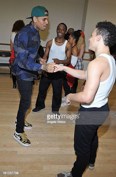 Recording artist Chris Brown visits the Debbie Allen Dance Academy on February 9 2013 in Los Angeles California