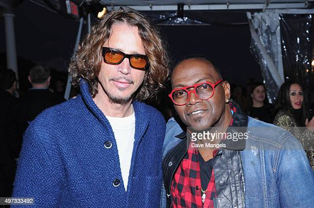 Recording artist Chris Cornell and producer Randy Jackson attend Rock4EB 2015 with Ed Sheeran and David Spade on November 15 2015 in Malibu California