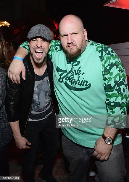Recording artist Chris Daughtry and actor/comedian Stephen Kramer Glickman attend IGN Sin City A Dame to Kill For ComicCon International Party during...