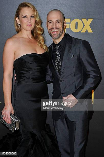 Recording artist Chris Daughtry and Deanna Daughtry attend Fox And FX's 2016 Golden Globe Awards Party on January 10 2016 in Beverly Hills California