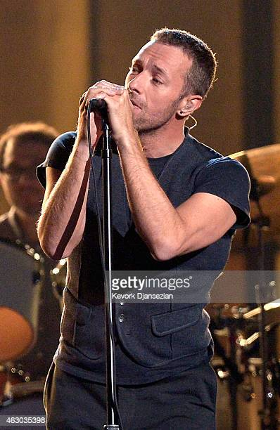 Recording artist Chris Martin performs Heart Is a Drum onstage during The 57th Annual GRAMMY Awards at the at the STAPLES Center on February 8 2015...