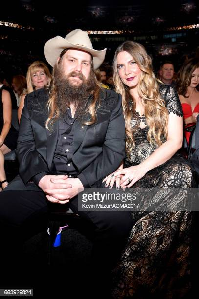 Recording artist Chris Stapleton and Morgane Stapleton attend the 52nd Academy Of Country Music Awards at Toshiba Plaza on April 2 2017 in Las Vegas...