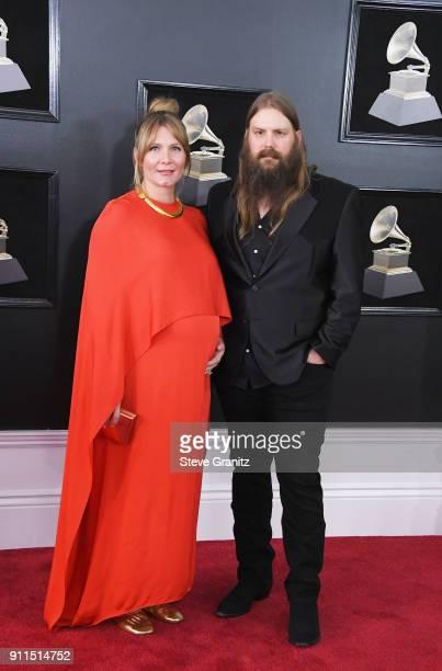 Recording artist Chris Stapleton and Morgane Stapleton attend the 60th Annual GRAMMY Awards at Madison Square Garden on January 28 2018 in New York...