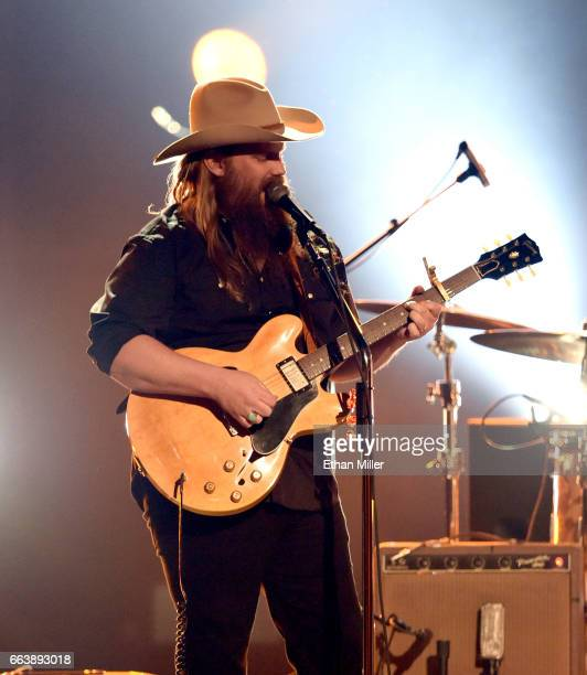 Recording artist Chris Stapleton performs onstage during the 52nd Academy of Country Music Awards at TMobile Arena on April 2 2017 in Las Vegas Nevada