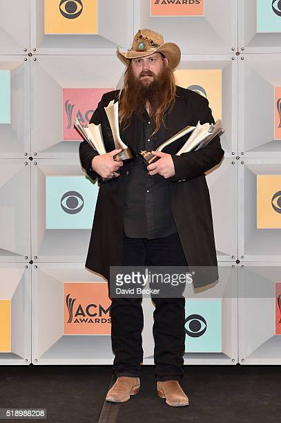 Recording artist Chris Stapleton winner of Album Of The Year poses in the press room during the 51st Academy of Country Music Awards at MGM Grand...