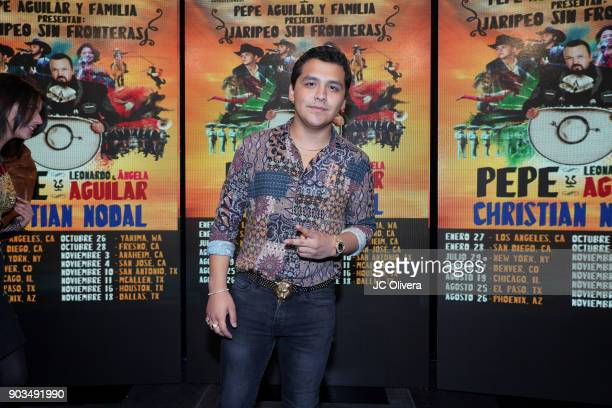 Recording artist Christian Nodal attends a press conference for the upcoming Tour 'Pepe Aguilar y Familia presentan Jaripeo Sin Fronteras' with...
