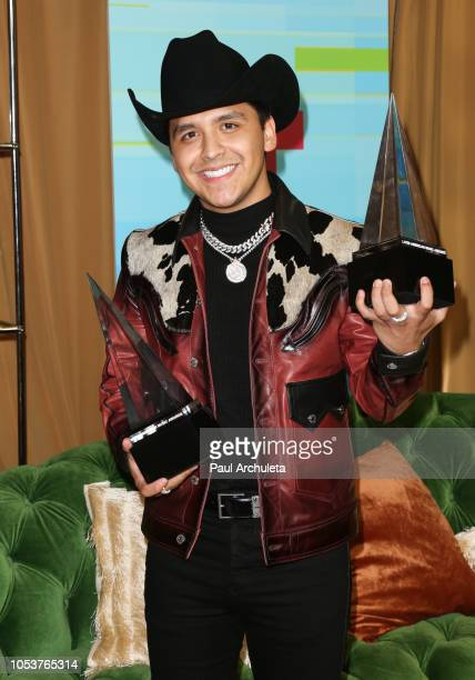 Recording Artist Christian Nodal poses in the press room at the 2018 Latin American Music Awards at Dolby Theatre on October 25 2018 in Hollywood...