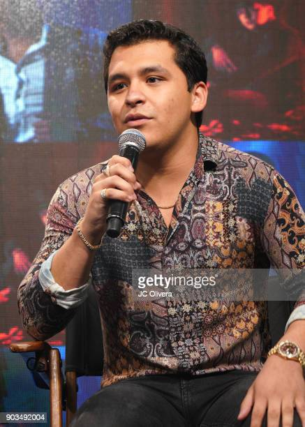 Recording artist Christian Nodal speaks during a press conference for the upcoming Tour 'Pepe Aguilar y Familia presentan Jaripeo Sin Fronteras' with...