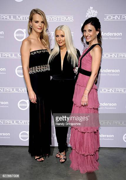 Recording artist Christina Aguilera and copresidents of Baby2Baby Kelly Sawyer Patricof and Norah Weinstein attend the Fifth Annual Baby2Baby Gala...