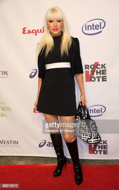 Recording artist Christina Aguilera attends the Esquire House Hollywood Hills Rock The Vote party on September 25 2008 in Los Angeles California