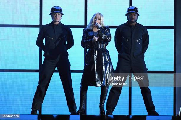 Recording artist Christina Aguilera performs onstage during the 2018 Billboard Music Awards at MGM Grand Garden Arena on May 20 2018 in Las Vegas...