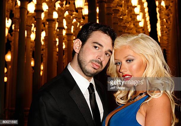 Recording artist Christina Aguilera poses with husband Jordan Bratman at LACMA's Opening Celebration of the Broad Contemporary Art Museum on February...