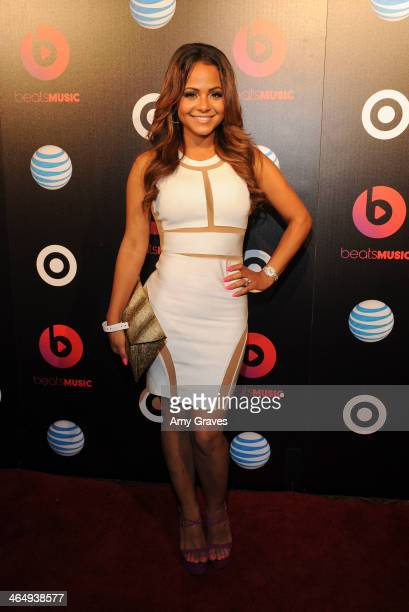Recording artist Christina Milian attends Beats Music Launch Party At Belasco Theatre at Belasco Theatre on January 24 2014 in Los Angeles California