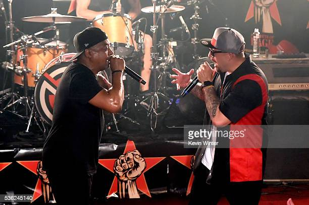 Recording artist Chuck D and BReal of Prophets of Rage perform onstage at Whisky a Go Go on May 31 2016 in West Hollywood California